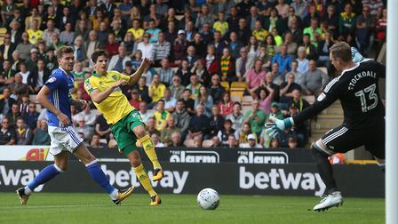 Timm Klose's shot tees up Nelson Oliveira for Norwich City's eventual winning goal early on against