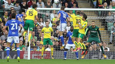 Norwich City's zonal defending is set to come under scrutiny during a busy September. Picture: Paul