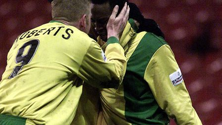 Darren Kenton congratulated on his goal at Bramall Lane by a very relieved Iwan Roberts! Picture: Ar