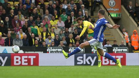 Josh Murphy of Norwich has a shot on goal during the Sky Bet Championship match at Carrow Road, Norw