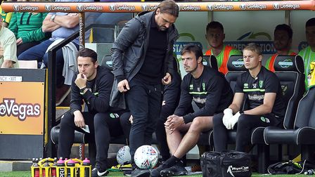 Norwich Head Coach Daniel Farke shows off his ball skills during the Sky Bet Championship match at C