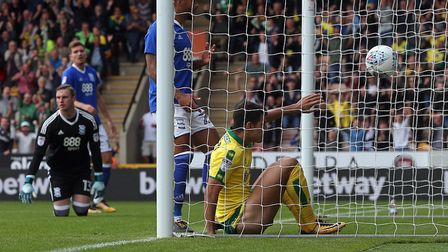 Nelson Oliveira of Norwich scores his sides 1st goal during the Sky Bet Championship match at Carrow