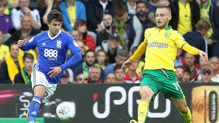 Tom Trybull of Norwich in action during the Sky Bet Championship match at Carrow Road, Norwich. Pict
