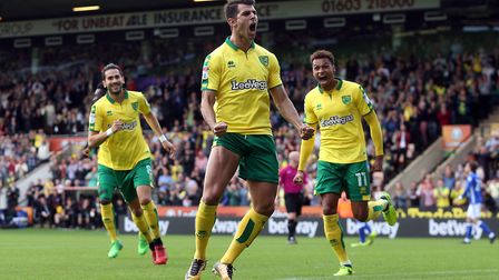 Norwich City striker Nelson Oliveira was on target from close range to beat Birmingham City. Pictur