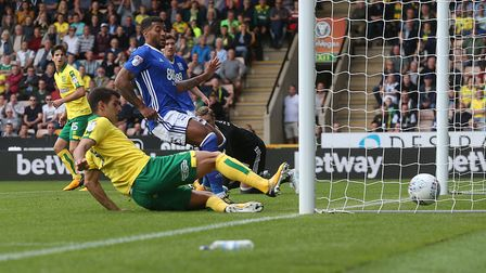 Nelson Oliveira slides home Norwich City's early winner against Birmingham. Picture: Paul Chesterton