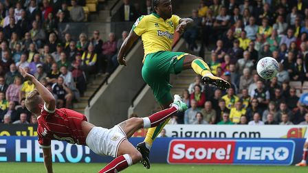 Cameron Jerome of Norwich acrobatically puts the ball in the net but the goal is disallowed during t