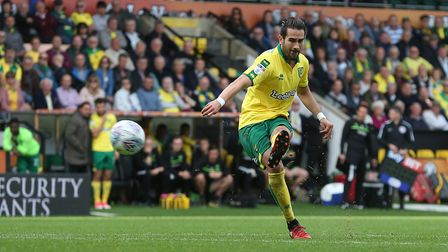 Mario Vrancic of Norwich has a shot on goal from a free kick during the Sky Bet Championship match a