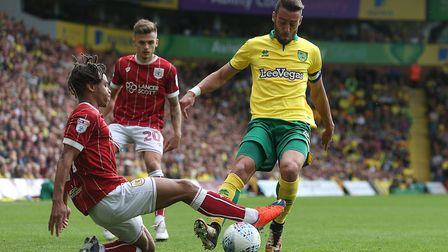 Bobby Reid of Bristol City and Ivo Pinto of Norwich in action during the Sky Bet Championship match