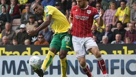 Norwich City striker Cameron Jerome goes close with an early shot against Bristol City. Picture by P