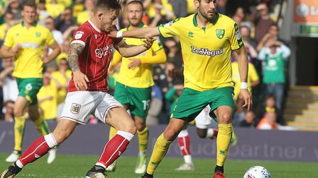 Mario Vrancic, right, battling with Josh Brownhill, hit the post in the first half of Norwich City's
