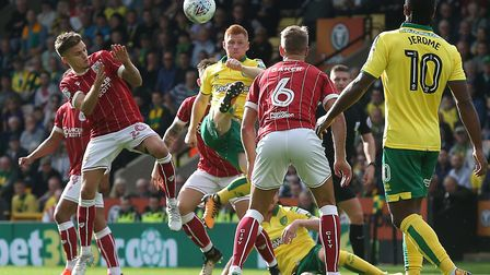 Harrison Reed of Norwich in action during the Sky Bet Championship match against Bristol City at Car