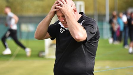 It's not easy watching for Acle manager Rob Taylor as his side go 3-0 down. Picture: ANTONY KELLY
