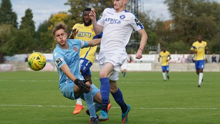 Lowestoft's Josh Greenleaf on the attack at Staines. Picture: Shirley D Whitlow