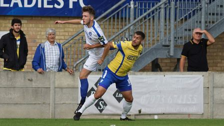 Lowestoft's Ollie Humphrey suffered leg and knee injuries at Staines. Picture: Shirley D Whitlow