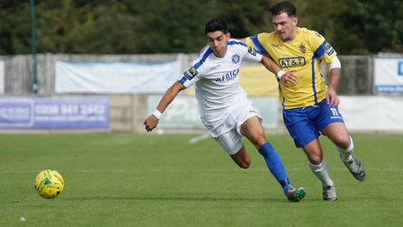 Harry Barker tryign to win possession at Staines. Picture: Shirley D Whitlow