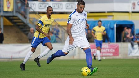 Lowestoft defender Dean Leacock in action at Staines. Picture: Shirley D Whitlow