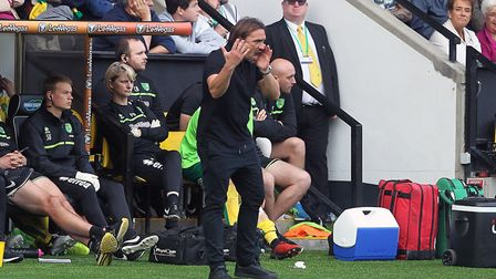 Norwich City head coach Daniel Farke was in animated form during their draw with Bristol City at Car