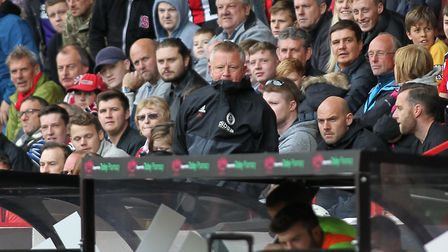Sheffield United manager Chris Wilder Chris Wilder watches from the stands after being sent off from
