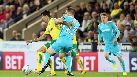 Nelson Oliveira was well-policed in the first half against Burton. Picture: Paul Chesterton/Focus Im