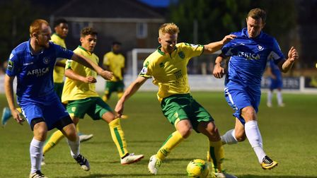 Kieron Higgs was lively for Norwich in the first half at Lowestoft, twice being denied by keeper Elv