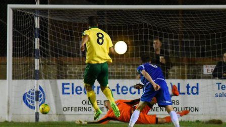 Adam Phillips fires Norwich City U23s 2-0 up at Lowestoft. Picture: James Bass