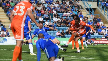 Shewsbury Towns Carlton Morris scores their first goal during the Sky Bet League One match at the ME