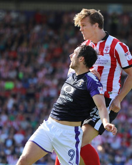 Sean Raggett got the better of Luton striker Danny Hylton in the air all afternoon. Picture by James