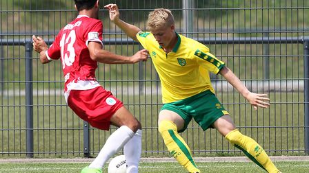 Agust Hlynsson in pre-season action against Rot-Weiss Oberhausen in Germany for Norwich City U23s. P