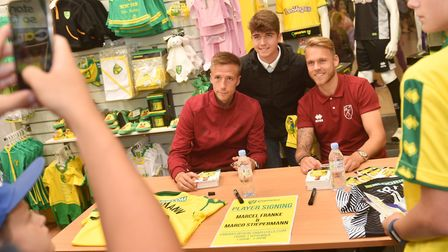 Two of Norwich City's new players, Marco Stiepermann, left, and Marcel Franke, met fans at Chapelfie