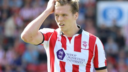 Sean Raggett of Lincoln City during Saturday's 0-0 draw with Luton at Sincil Bank. Picture by James
