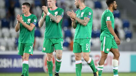 Republic of Ireland's Alex Pearce, James McClean, Daryl Murphy and Cyrus Christie during the 2018 FI