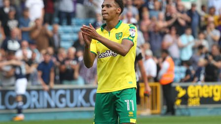 Josh Murphy of Norwich applauds the traveling support at the end of the Sky Bet Championship match a