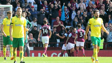 Norwich City's backline fell the full force of Aston Villa's forward power. Picture: Paul Chesterton