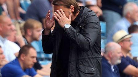 Norwich headcCoach Daniel Farke shows his frustration during the Sky Bet Championship match at The D