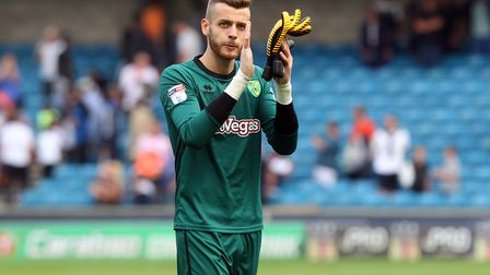 Angus Gunn of Norwich applauds the travelling support. Picture: Paul Chesterton/Focus Images Ltd