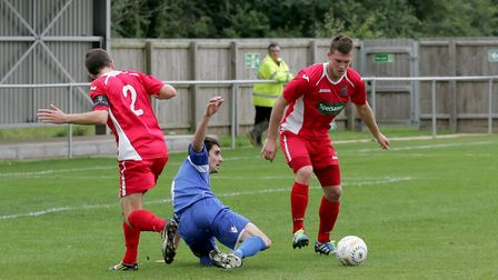 Jon Fairweather, right, scored for Wisbech but it wasn't enough. Picture: Justin Stevens