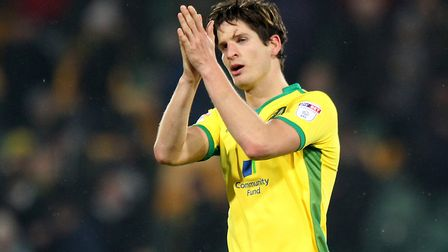A battle scarred Timm Klose of Norwich applauds the fans at the end of the Sky Bet Championship matc