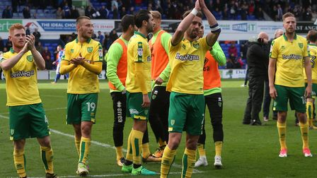 The Norwich players celebrate victory at the end of the Sky Bet Championship match at Portman Road,