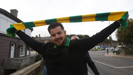 A Norwich fan before the game at Portman Road.