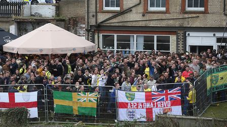 The traveling Norwich fans before the Sky Bet Championship match at Portman Road, IpswichPicture by