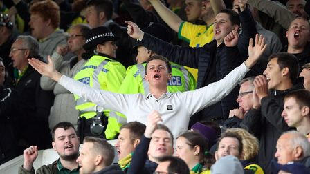 The traveling Norwich fans during the Sky Bet Championship match at Portman Road, IpswichPicture by