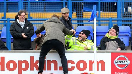 Norwich Head Coach Daniel Farke celebrates victory with the Norwich supporters in the disabled secti
