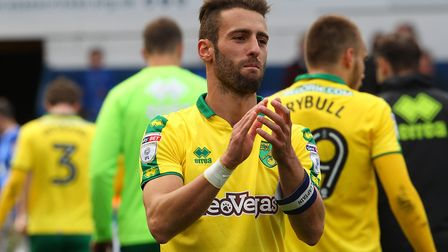 Ivo Pinto of Norwich celebrates victory at the end of the Sky Bet Championship match at Portman Road