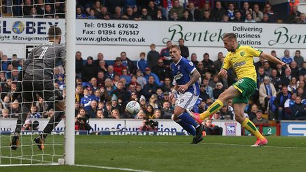 Marco Stiepermann of Norwich clears the ball during the Sky Bet Championship match at Portman Road,