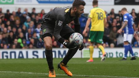 Angus Gunn of Norwich in action during the Sky Bet Championship match at Portman Road, IpswichPictur