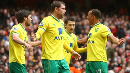 Grant Holt and team-mates celebrate going ahead at Arsenal. Picture: Paul Chesterton/Focus Images