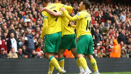 Grant Holt celebrates after making it 2-1 at Arsenal. Picture: Paul Chesterton/Focus Images
