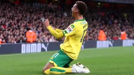 Josh Murphy of Norwich celebrates scoring his side's 1st goal during the Carabao Cup match at the Em