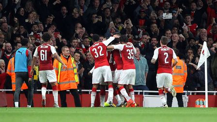 Edward Nketiah of Arsena celebrates scoring his sides 1st goal during the Carabao Cup match at the E