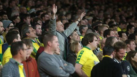 The traveling Norwich fans during the Carabao Cup match at the Emirates Stadium, LondonPicture by Pa